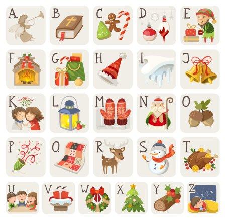 Illustration pour Ensemble d'articles, de personnages et de situations de Noël en alphabet . - image libre de droit