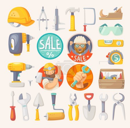 Illustration for Tools for building, construction and house remodeling. Labels for hardware store. - Royalty Free Image