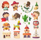 People tourists and national heroes of Mexico Design elements and icons with local architecture and traditions
