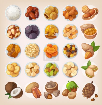 Set of colorful fruit and nuts.
