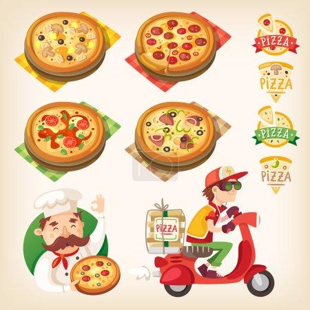 Illustration pour Photos liées à la pizza : types de pizza sur le plateau, logos, cuisinier italien et livreur de pizza - image libre de droit