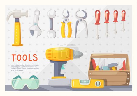 Illustration for Colorful poster with carpenter's tools on garage wall - Royalty Free Image