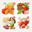 Groups of healthy fruit, vegetables, meat, fish an...