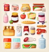 Set of common goods and everyday products we get by shopping in a supermarket