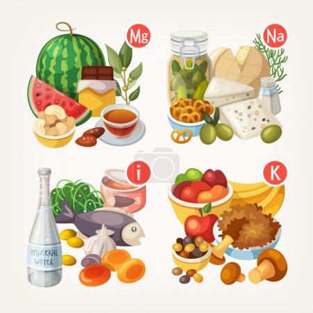 Illustration for Groups of healthy fruit, vegetables, meat, fish and dairy products containing specific vitamins - Royalty Free Image