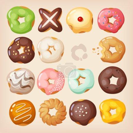 Colorful doughnuts in a box