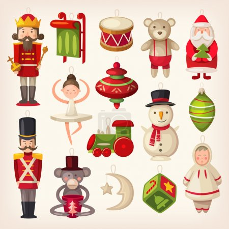 Illustration for Set of colorful retro wooden christmas tree toys. - Royalty Free Image