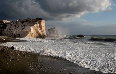 Seascape with windy waves during stormy Rock of Aphrodite Paphos Cyprus.