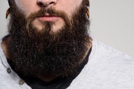 Foto de Cerca de barba larga y bigote del hombre barbudo - Imagen libre de derechos
