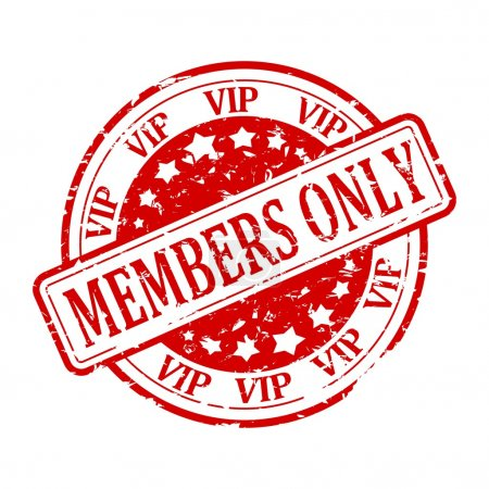 Photo pour Damaged round red stamp with inscription - Members Only - vip - illustration - image libre de droit