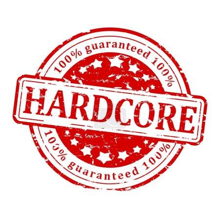 Photo pour Damaged round red stamp with inscription - hardcore - illustration - image libre de droit