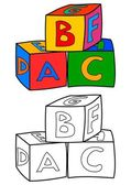 Colorful cubes with letters such as coloring books for children - vector