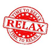 Damaged round red stamped - time for relax relax - vector
