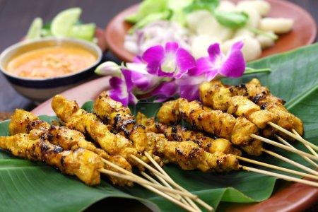 Photo pour Satay de poulet, ayam sate et lontong à la sauce aux arachides, cuisine indonésienne brochette - image libre de droit