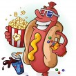 A smiling hot dog cartoon character at the movies,...