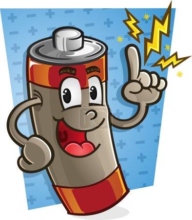 Illustration pour Un personnage de bande dessinée batterie pointant avec des étincelles électriques - image libre de droit