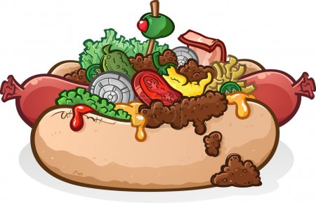 Hot Dog With Toppings Cartoon