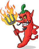 An evil red hot pepper devil cartoon holding a flaming pitchfork and giving an devilish grin with his curly mustache