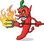 An evil red hot pepper devil cartoon stabbing with a flaming pitchfork and giving an devilish grin with his curly mustache