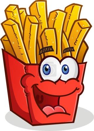 Illustration pour Une heureuse boîte rouge souriante de frites dorées, croustillantes et délicieuses - image libre de droit