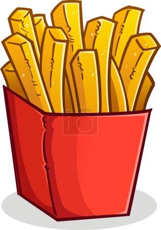 Illustration pour Une grande boîte rouge de délicieuses frites dorées et croustillantes - image libre de droit