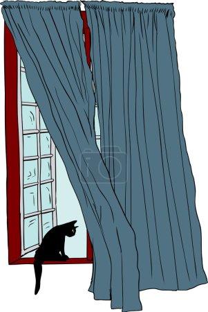 Illustration pour Illustration isolée dessinée à la main de la fenêtre à battants ouverts et chat regardant au-dessus - image libre de droit