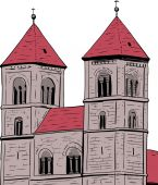 Sketch of towers on Quedlinburg Abbey in Germany with white background