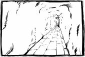 Outline sketch of long underground passage with copy space