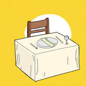 Hand drawn fancy table setting over yellow background
