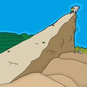 Cartoon of determined man pushing rocks up hill