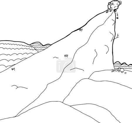 Man Pushing Boulder Up Hill