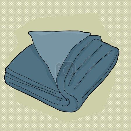 Illustration pour Dessin animé unique serviette pliée sur fond vert - image libre de droit