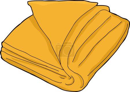 Illustration pour Dessin animé unique serviette pliée orange sur blanc - image libre de droit