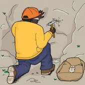 Black geologist using rock hammer to chisel rock samples