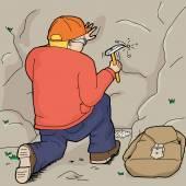 Cartoon of kneeling geologist using rock hammer