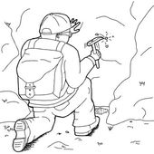 Outline of male geologist with backpack and rock hammer