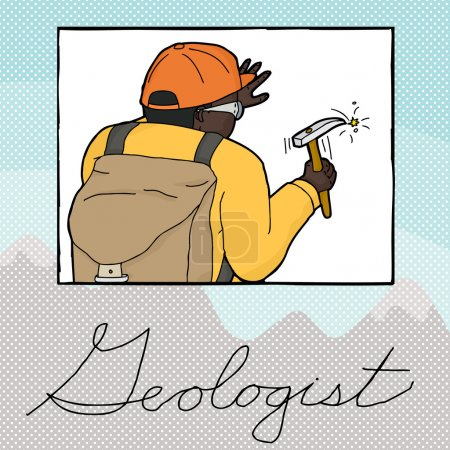 Double Exposure Geologist Working