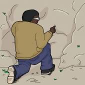 Cartoon of single man poking rock with finger