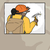 Working American Indian female geologist graphic cartoon