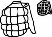 Single outlined cartoon grenade over white background
