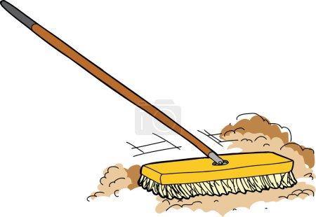 Cartoon Push Broom Sweeping