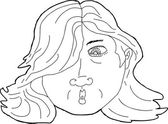 Outline of Surprised Woman