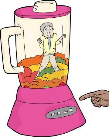 Man and Food in Pink Blender