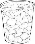 Single plastic cup cartoon of melon pieces