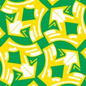 Abstract winged arrows pattern in yellow over green