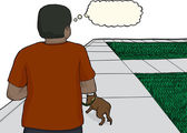 Young Man Walking Dog on Sidewalk