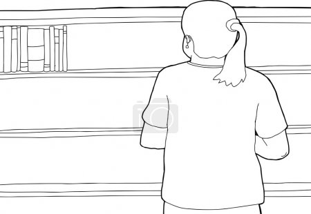 Outline of Woman Looking at Empty Shelf
