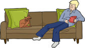 Isolated Man on Loveseat with Cat