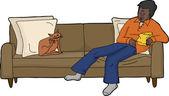 Cat scratching himself on sofa next to sleeping man