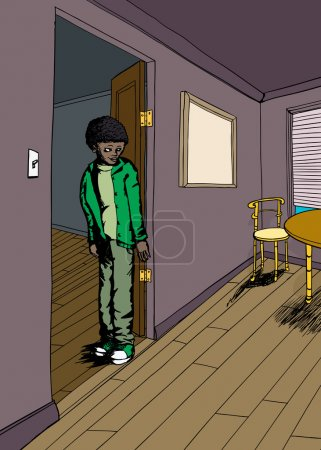 Illustration for Smiling teenager in doorway of room with hardwood floors - Royalty Free Image
